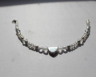 White and Silver Heart Bracelet