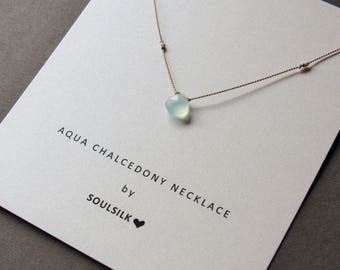 AQUA CHALCEDONY and fine SILVER nuggets necklace on a fine silk cord woman's gift card dainty gemstone layering
