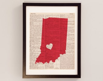 Indiana Hoosiers Dictionary Art Print - Bloomington Art - Print on Vintage Dictionary Paper - Indiana University, IU, Basketball