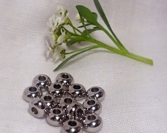 Stainless Steel Spacer Beads (5mm), 10 pcs