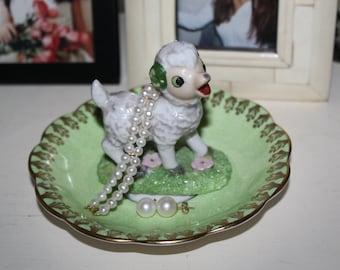 OOAK Baby Ram Aries Season Vintage Spring Green Ring Dish