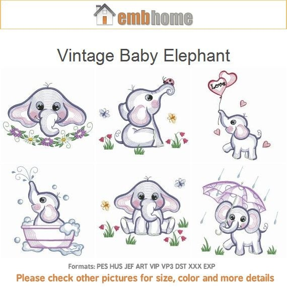 Vintage Baby Elephant Machine Embroidery Designs Instant