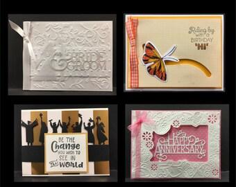 Handmade Card Kit from Inspiration Station May 2017, Pre-made card kits: graduation,wedding,birthday,anniversary - 4 cards