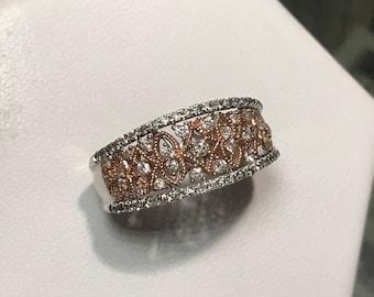 10k Rose & White Gold Diamond Studded Ring