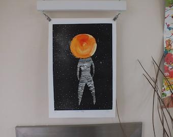 Solar lady - space astronomy art gift - celestial art - original linocut - the sun