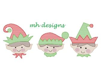 Boy Elves trio vintage embroidery design, Vintage stitch Elf, Christmas embroidery file, Santa's elves embroidery design