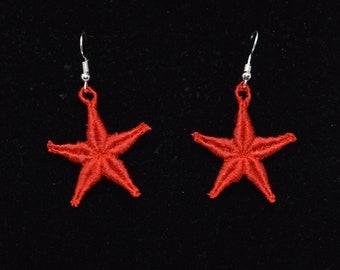 Star Earrings - Red