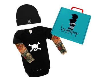 ROCKSTAR BABY KIT Skull & Crossbones Baby Gift Set - black onesie with tattoo sleeves, Hat and optional gift box