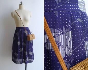 Vintage 80's 'Pixelated Rose' Floral Print High Waist Skirt M L XL