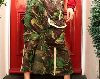 Customised (customized) Military Camouflage Long Skirt Trimmed by Tea Dyed Twill Tape -- Waist 74-82cm (29-32'')