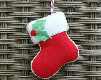 Handmade Felt Christmas stocking ornament