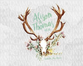 Deer Skull Antlers Wedding Logo - Wedding Crest - Wedding Monogram - Southwest Wedding - Rustic Wedding