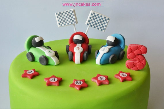 personalised edible cake decoration RACING CAR cake toppers boy