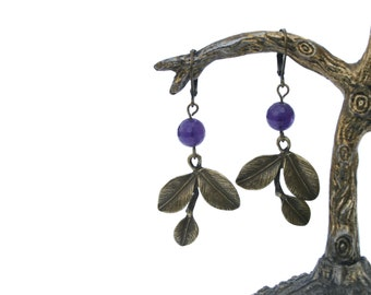 Earrings, handmade, with bronze leaves and amehtist, free shipping