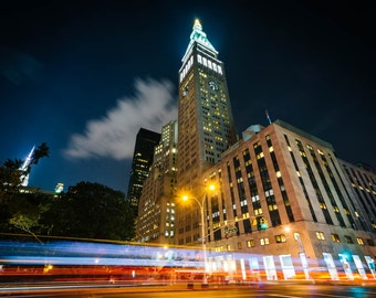 The Metropolitan Life Insurance Company Tower at night, in Manhattan, New York. Photo Print, Metal, Canvas, Framed.