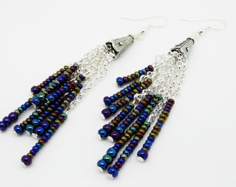 Drop Earrings, Blue Red Black Earrings, Dangle Earrings, Long Earrings, Blue Earrings, Boho Earrings, Statement Earrings