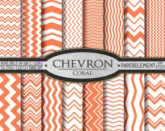 Coral Chevron Digital Paper Pack - Instant Download - Digital Scrapbook Paper with Chevron Backdrop
