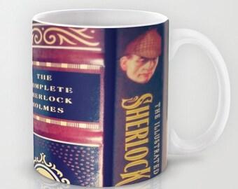 Sherlock Library mug: Books, cup, coffee, tea, mystery, detective, Sir Arthur Conan Doyle, library