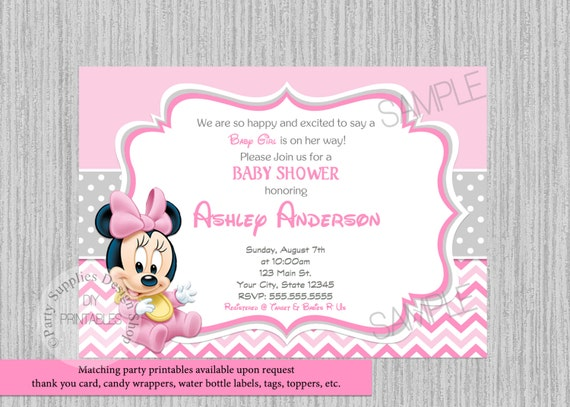 PRINTED Or Digital Disney Baby Minnie Mouse Baby Shower Invitations, Minnie  Baby Shower Invitations, Minnie Baby Shower Supplies, Chevron