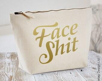 Unisex Face Shit Wash Bag Men's Women's Make Up Toiletry Canvas Sack Funny Toiletries Bridesmaid Bride Mans Beard zip up Bags Makeup Brushes