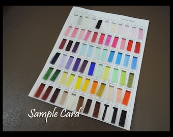 Sample Card - Organza Ribbon Tape Standard Color Chart 63 Colour Sample Card