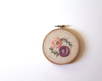 Mini Floral Embroidery Hoop. Embroidery Hoop. Home Decor. Wall Art. Floral Art.