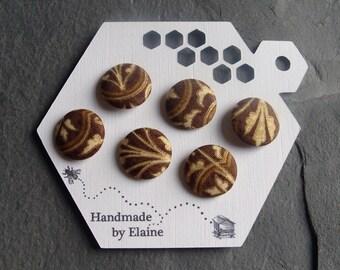 Fabric Covered Buttons - 6 x 19mm Buttons, Handmade Button, Chestnut Teak Dark Brown Ecru Biscuit Gold Fleur De Lys Renaissance Buttons 2505