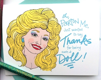 Dolly Parton Thank You Greeting Card
