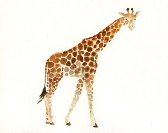 GIRAFFE - 10x8inch print-Children's Decor-Art for Children-kids wall art-Nursery art -Animal lover
