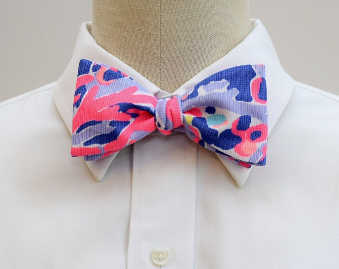 Men's Bow Tie, Shrimply Chic Lilly print, hot pink purple bow tie, wedding bow tie, groomsmen gift, prom bow tie, groom bow tie, Derby tie