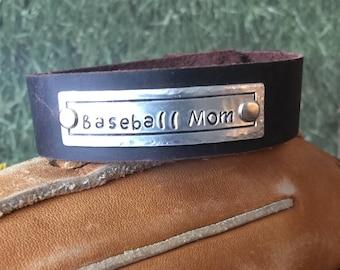 Baseball Mom Leather Bracelet