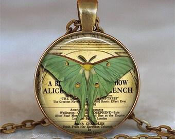 Luna Moth pendant, Luna moth necklace, Luna moth jewelry, night butterfly jewelry symbolic jewelry key chain key ring key fob