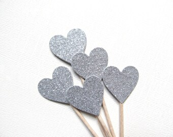 Valentine's Day Decor, Silver Glitter Heart Cupcake Toppers, Party Decor, Double-Sided, Food Picks, Weddings, Showers, Set of 15