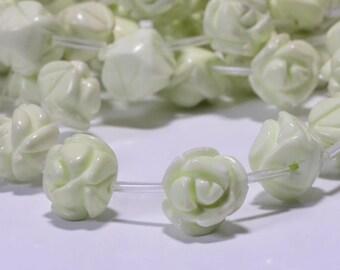 Lemon Chrysoprase Rose Carved  12 mm 6 Beads Rose Carved Beads Rose Beads Flower Beads Jewelry Making Supplies