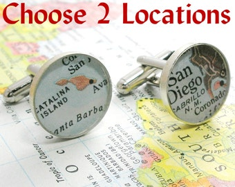 Travel Gift Choose Two Locations Vintage Map Cuff Links