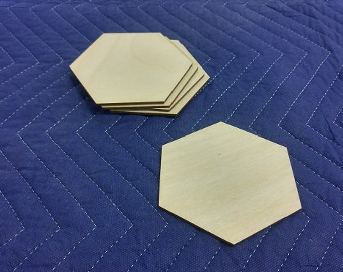 "Set of 20 1/8"" thick Blank Large Wooden Hex Tiles"