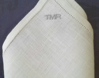Pocket Square Linen, Personalized Monogrammed, 10 x 10 with Narrow Hem, Hemstitched; for Groom, Groomsmen, Father; Men's Gift