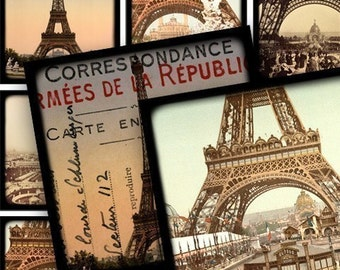 Vintage Framed Eiffel Towers Digital Collage Sheet 1.5 Inch Squares Printables Paris France French Stamps Text Handwriting piddix 635