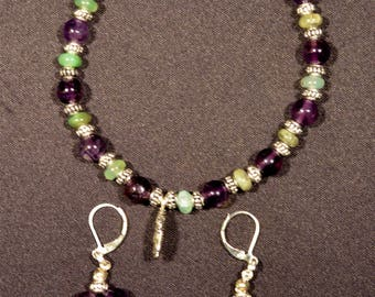 Earrings and bracellet amethyst and jade Buddha N84 Gosainthan
