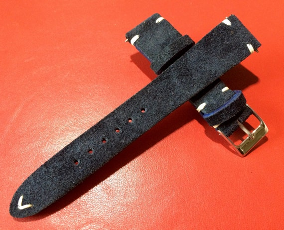 Leather watch band, Suede Leather, Leather watch strap, Dark blue watch band for 19mm, 20mm lug, Suede Blue, 16mm buckle, FREE SHIPPING