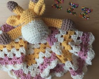 Crochet Giraffe Lovey- Handmade, Baby Toy