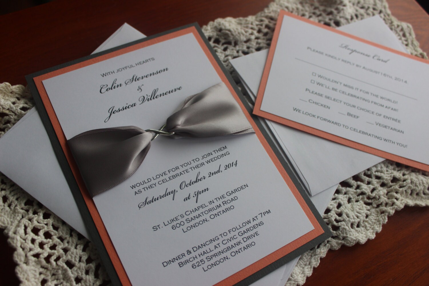 Coral and Gray Modern Wedding Invitation with Infinity Charm