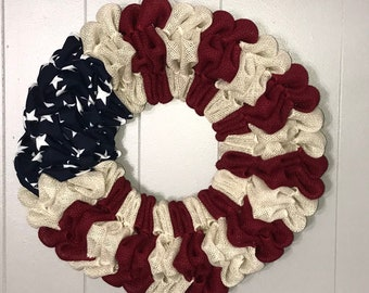 Burlap flag wreath