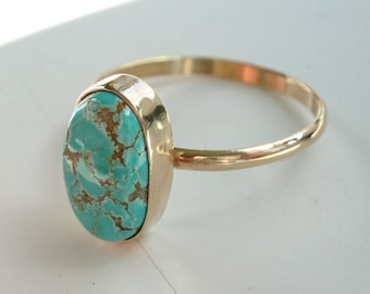size 10.5 Turquoise and Gold Ring, 14k, Carico Lake turquoise, simple gold and turquoise ring
