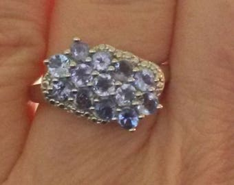 Natural Tanzanite ring in 925 silver size M