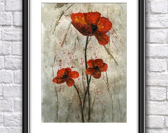 Poppies PRINT from an Original Acrylic Painting, Original Art Print, ACEO Print, ATC Print, Poppies Painting Print, Birthday Gift,