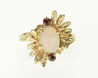 14k Opal Garnet Textured Leaf Semi-Halo Burst Ring Gold