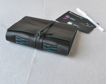 Black Leather Journal with Black Paper