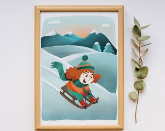 Winter print, mountain poster print, nursery wall art, poster Little Jade in the mountain, kids poster, nursery decor, nursery illustration
