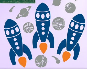 Outer Space Decor Wall Decal Set: Rocket Ships and Planets Decals, Boys Room Decor, Boys Bedroom Decor (0177a4v)